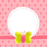 Cute cartoon butterfly card with frame Royalty Free Stock Images