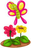 Cute cartoon butterfly with flowers Stock Photo