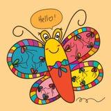 Cute cartoon butterfly smile Stock Photos