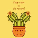 Cute cartoon cacti-girl with phrase Keep calm and be natural vector illustration