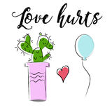 Cute cartoon cactus and balloon hand drawn, love hurts saying. Cute cartoon cactus and balloon hug, vector drawing. Love hurts, funny Valentine`s day Royalty Free Stock Image