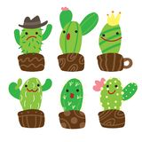 Cute cartoon cactus character collection stock illustration