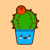 Cute cartoon cactus icon with funny face in pot kawaii plant character . Flat design Royalty Free Stock Photo