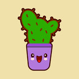 Cute cartoon cactus icon with funny face in pot kawaii plant character  Royalty Free Stock Photo