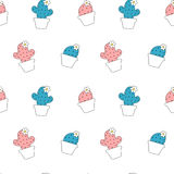 Cute cartoon cactus pink and blue seamless pattern background illustration Royalty Free Stock Photo