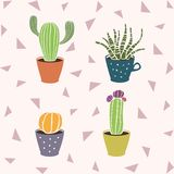 Cute cartoon cactus in the pot. Succulent flower in the mug. Cute hand drawn cacti home plant collection. Cute hand drawn cacti  set on backgrond eith triangles Stock Photo