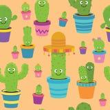 Seamless Cartoon Cactus Pattern stock illustration