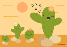 Cute cartoon cactus singing in the desert funny illustration Royalty Free Stock Photography