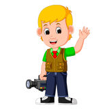 Cute cartoon a cameraman Stock Images
