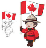 Cute cartoon canadian Mounties. With a flag of Canada in hand. Standing, isolating on white. also countour Royalty Free Stock Photos