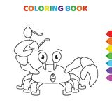 Cute cartoon cancer animal coloring book for kids. black and white vector illustration for coloring book. cancer animal concept
