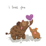 Cute cartoon card with mammoth. Vector Stock Images