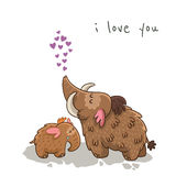 Cute cartoon card with mammoth. Vector Royalty Free Stock Photo