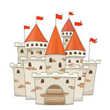 Cute cartoon castle with flags. vector Royalty Free Stock Photo