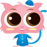 Cute cartoon cat. Cute pink cartoon cat in blue clothes, white background stock images