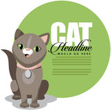 Cute cartoon cat ad background Royalty Free Stock Image