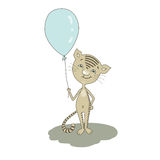 Cute cartoon cat with balloon Royalty Free Stock Image