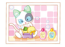 Cute cartoon cat bathing chicks Stock Photography