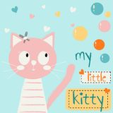 Cute cartoon with a cat. Children`s media, children`s clothing, card. Vector illustration. stock illustration