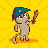 Cute cartoon Cat in a cocked hat with a sword. Vector Illustration Stock Photo
