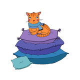 Cute cartoon cat on cushions. vector illustration