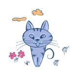 Cute cartoon cat. Cute cartoon blue cat sitting in clearing.Vector illustration Stock Photography