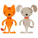 Cute cartoon cat and dog Royalty Free Stock Images