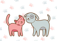 Cute cartoon cat and dog. Cat and dog simple drawing on white background with paws vector illustration