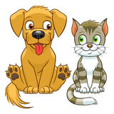 Cute cartoon cat and dog. On the white background Royalty Free Stock Photography
