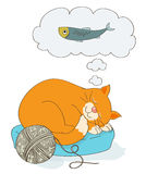 Cute cartoon cat dreaming of a fish as food stock illustration