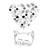 Cute cartoon cat dreaming. On white background Stock Photos