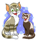 Cute cartoon cat and ferret. Illustration of smiling cartoon cat and ferret. Look similar pets in my portfolio Stock Photography