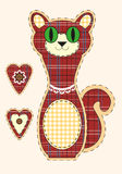 Cute cartoon cat in flat design for greeting card, invitation and logo with fabric texture. Vector Stock Photo