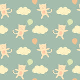 Cute cartoon cat flying in the sky with balloon seamless pattern background illustration Royalty Free Stock Image