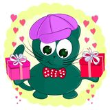 Cute cartoon cat with gifts. Greeting card. vector illustration royalty free illustration