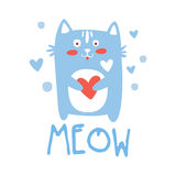Cute cartoon cat with heart. Meow colorful hand drawn vector Illustration Royalty Free Stock Image