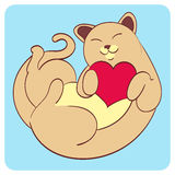 Cute cartoon cat with heart for site, postcard, present. Vector illustration Stock Photography