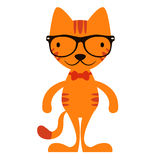 Cute cartoon cat in hipster glasses Royalty Free Stock Images