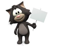 Cute cartoon cat holding blank sign. A smiling, furry cute cat holding a blank sign in its hand. White background Royalty Free Stock Photos