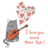 Cute cartoon cat in love. Doodle singing cat with guitar Stock Image