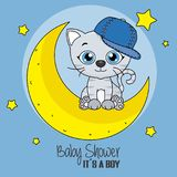 Cute cartoon cat on a moon. Baby boy shower card Royalty Free Stock Photo