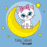 Cute cartoon cat on a moon. Baby shower card Royalty Free Stock Photos