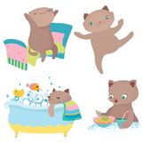 Cute cartoon cat morning routine. Funny cartoon character, Vector illustration over white background Royalty Free Stock Image