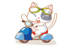 Cute cartoon cat on a motorcycle Stock Photo