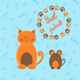 Cute cartoon cat and mouse. Stock Photos