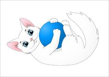 Cute cartoon cat playing with a ball. Illustration Royalty Free Stock Photo