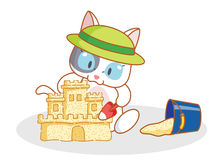 Cute cartoon cat playing with sand Royalty Free Stock Photography
