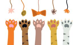Free Cute Cartoon Cat`s Paws Playing With Toys. Kitten Isolated Royalty Free Stock Images - 189817709