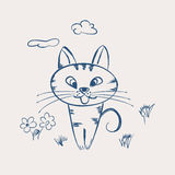 Cute cartoon cat. Sitting in clearing.Vector illustration Stock Images