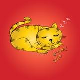 Cute cartoon cat sleeping Royalty Free Stock Photos